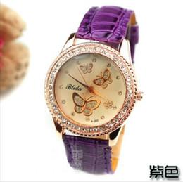 5 colores agraciado oro mariposa ámbar cara checa diamantes dial mujer reloj de pulsera de cuero relojes de moda mujer cristal piedra pulsera reloj desde cristales checo pulseras proveedores