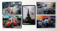 Wholesale Nostalgic Vintage Racing Car Retro Metal Tin Sign Deco paris tower home bar cafe decoration dropship