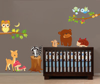 Wholesale funlife forest animal nursery room kids art mural peel and stick wall sticker decals FXJM7217