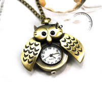 Wholesale New Owl Shaped Vine Watch Jewelry Alloy Chains Silver Necklace Smooth Pocket Watch