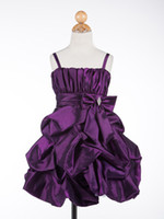 Wholesale 2013 Fashionable Knee Length Spaghetti Purple Taffeta Ceremony Flower Girl Dress