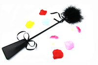 Wholesale flog toy sex whip teaser tickler flirt foreplay kits black feather leather pad bondage game SM for pleasure Ass Beating Slapper panking