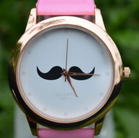Unisex asos free - delicate fashion ASOS man Casual Moustache Face Leather Watch boy students beard Watch