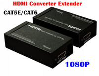 Wholesale 1080P HD HDMI converter Extender Balun Extender over One CAT5E CAT6 HDMI Transmitter Receiver