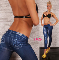 Wholesale 200pcs free DHL Fedex Women s Sexy Leggings Pants fashion Cross Jeggings Blue Color F026 MIX Model
