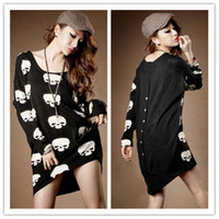 Wholesale Chic Women Skull Skeleton Beauty Back Buttons Design Irregular Hem Dress Tops M