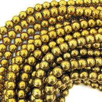 Wholesale Gold Plated Hematite Round Spacer Beads Fit DIY Making Bracelet Necklace mm