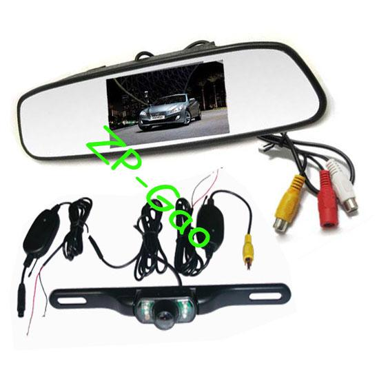 4.3 Car TFT LCD Mirror Monitor + Wireless Reverse Car IR Rear View ...