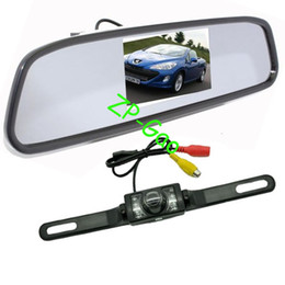 "4.3"" Car LCD Mirror Monitor + IR Reverse Car Rear View Reversing Camera Kit with 5M cable Free Shipping"