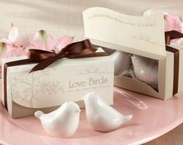 Hot Sale 20 pcs / lot = 10sets / lot, nouveaux faveurs de mariage, l'amour des oiseaux sel poivrière cadeau de mariage cadeau Céramique Livraison gratuite