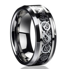 Wholesale DragonTungsten Carbide Celtic Ring Mens Jewelry Tungsten Ring Mens Wedding Band Silver New Size