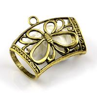 al por mayor colgantes de collar de joyería de bronce antiguo-20pcs / lot, collar de la joyería DIY de latón bufanda pendiente de la antigüedad de la aleación del encanto de la mariposa Accesorios diapositiva del tubo, envío libre, AC0137