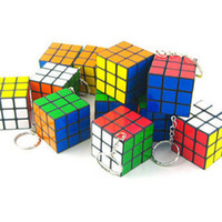Wholesale 2014 new Factory directly sales Keychain Rubik s cube x3x3cm Puzzle Magic Game Toy Key Keychain