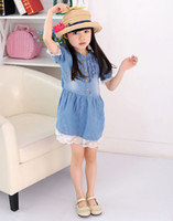 Wholesale Kids jean dress blue lace cotton children dress short sleeve soft summer new fashion Y