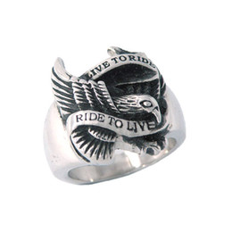 Free shipping! Live To Ride Eagle Ring Motorcycles Biker Ring Stainless Jewelry Steel Motor Ring SWR0005