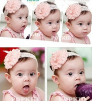 Wholesale Newest toddler infant baby girl big rose flower lace headband hairband Hair Bows Satin ribbon hair head band Prop colors hair tie