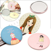 Wholesale Sweet cute cartoon small women cosmetic mirror Many design Mini portable portable round