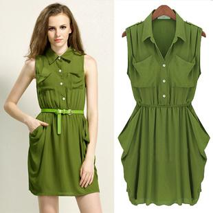 Fashion Women Casual Chiffon Dresses With Pockets In Army Green Or ...