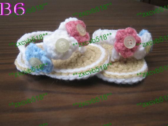 Оптом - Вязание крючком для младенцев Детские сандалии, белый Вьетнамки, вязание крючком детская обувь, Размеры 0-12 месяцев, 40pair / много Бесплатная