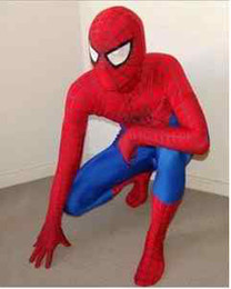 Wholesale New style Lycra Spandex Spiderman Hero i unitard mascot Costume S XXXL red blue