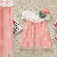 TuTu Summer A-Line Summer Popular Baby Girl's Dot Floral Dresses Skirt Sundress Cotton Short Sleeve Lace Flower Net Yarn Condole Belt Vest Princess Dress Wear