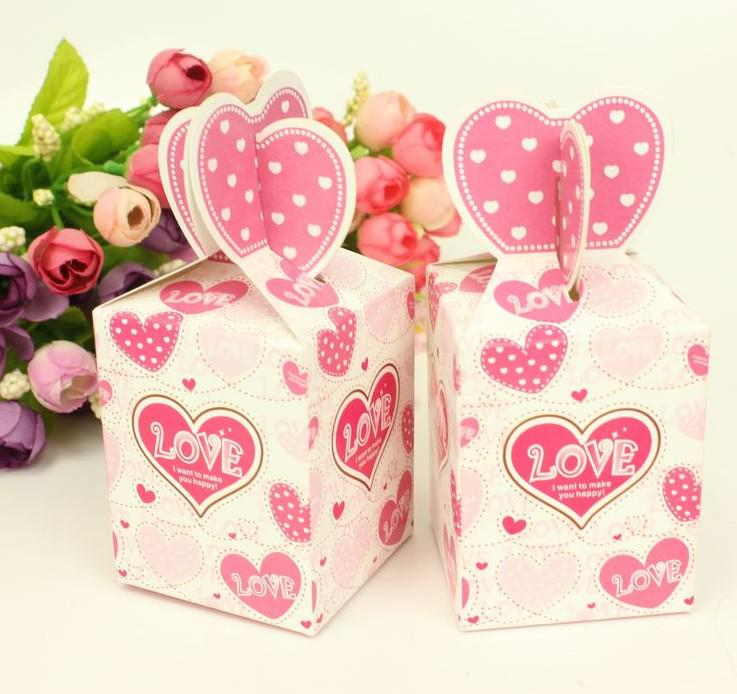 Romantic Wedding Favor Boxes Gift Paper Bags Candy Boxes Pink