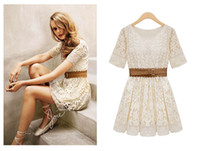 Wholesale Summer Lace Embroidery Beige White Vintage Ladies Women Dress Cowboy Belt Mini Short Sleeve Round Collar Western New