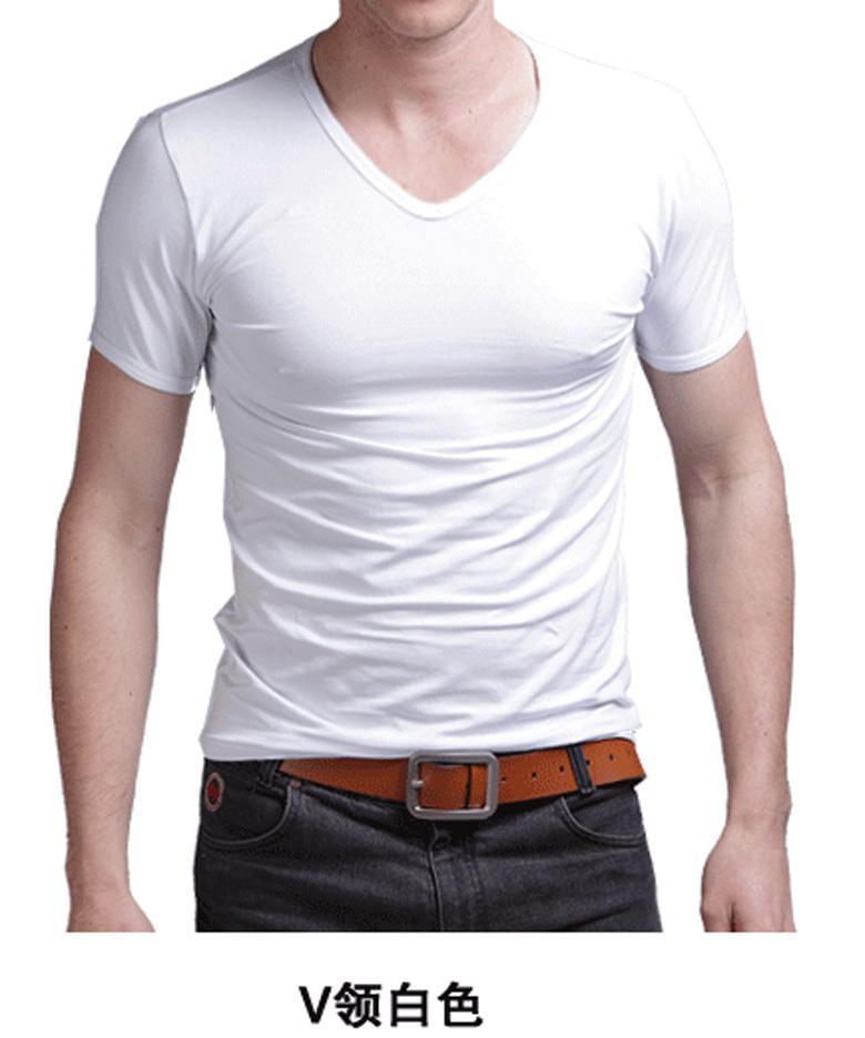 Men s t shirt summer short sleeve v neck casual t shirt for Hanes premium men s 6pk v neck t shirt white