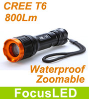 Wholesale Super Bright LM CREE T6 Zoomable LED Flashlight Torch Modes Adjustable Focus Zoom Camping outdoor Flash Light Lamp Tactical Portable