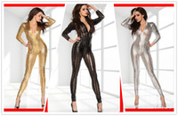 Wholesale New sexy lingerie Black Wetlook clubwear Catsuit jumpsuit D Intricately crafted Overall Punk