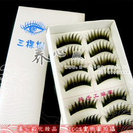 Wholesale box three trees false eyelashes H053 thick hard stems hold the eyelids models mixed batch of