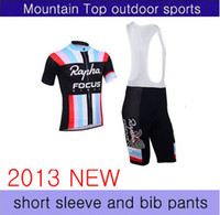 Wholesale New Rapha Cycling Wear O Neck Shirt Short sleeve and Bib Short Pants cycling wear
