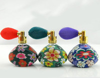 Wholesale 15ML Multi Color Polymer Clay Perfume Bottle with Gasbag Spray Atomizer Glass Frangrance Bottle Essential Oil Vials