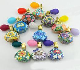 Wholesale 15ML Flower Perfume Bottle Polymer Clay Gasbag Fragrance Bottle Spray Atomizer Glass Essential Oil Bottle Vials Beauty Accessories
