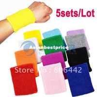 Wholesale 5sets New Cotton Sweatbands Wristbands Gymnastics Running Cycling Colors