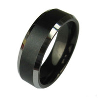 Band Rings tungsten carbide ring - Mens Tungsten Carbide Ring Black Brushed Wedding Band Size
