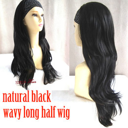 Wholesale Nature Off Black Wig Long Perfect Layered Wavy Half Wig Hairpiece B