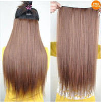 Wholesale New Fashion Women s Accessories Long Straight Five Clip Onepiece Clip in Hair Extensions Synthetic H