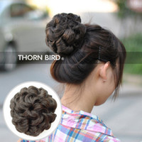 Wholesale New Fashion Women s Girls Wave Curly Hair Bun Cover Hairpiece Clip In Hair Extensions Accessories P1