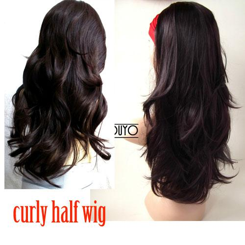 Dark Brown 3/4 Wig Long Wavy Layered Half Wig Hairpiece 6 2/33 Wigs ...