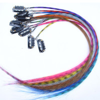 Wholesale New Fashion Womens Girls Multicolour Synthetic Grizzly Feather Clip in Hair Extensions