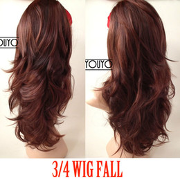 Wholesale Copper Red Mix Full Hair Piece Med Long Wavy Half Wig Hairpiece