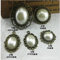 Wholesale PC MM Vintage Style Pearl Bead Alloy Base Embellishment Button Trim DIY Bow Jew
