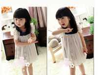 Wholesale Summer kids skirt Korean sleeveless Broken beautiful knitting wool Girls dress Children princess dress picture color size