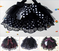Wholesale 3 colors Girls Multi layer tutu Skirts with Big Dots Design New Children Bowknot Lace Sweet Cake Skirts Kids TUTU Dress Baby Clothes