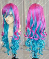 Wholesale Hot Sell Popular NEW Long Pink Blue Mix Cosplay Curly Wigs