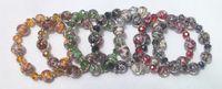 Wholesale 28pcs colors glass and crystal adjustable bracelet