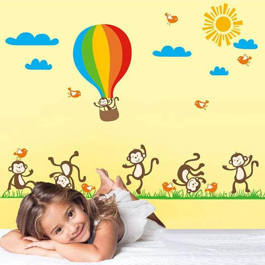 Wholesale Removable Monkey And Hot Air Balloon Kids Room Wall Stickers Nursery School Wall Decals Stickers For Wall Kids Room Wall Stickers Nursery School