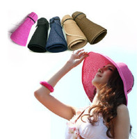 Wholesale New fashion lady summer parent child cap portable foldable straw beach hat and empty top hat beach hat sun hat
