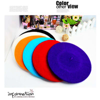 Wholesale Fedex Free ship New Pretty Girls Wool Berets Many colors Fashion Women Fashion Wool Warm French Beret Hats Ladies Berets Girls Wool Caps